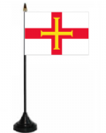 Guernsey Desk / Table Flag with plastic stand and base.